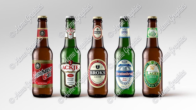 Assorted lager beer bottles 2