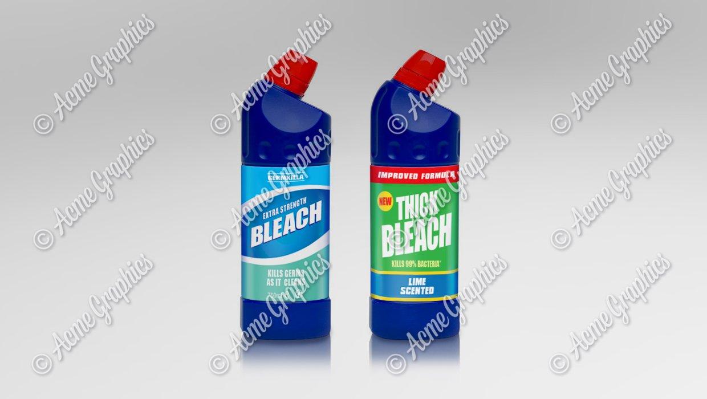 Bleach bottles shine