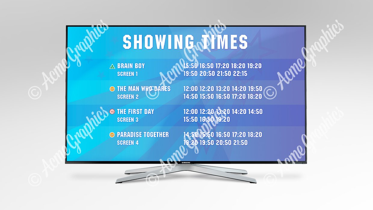 film showing times screen
