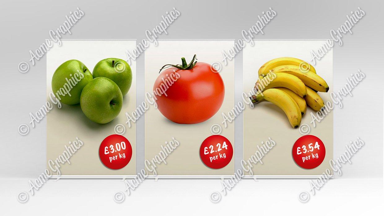 Generic supermarket signs