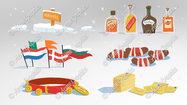 Colour illustration christmas assets