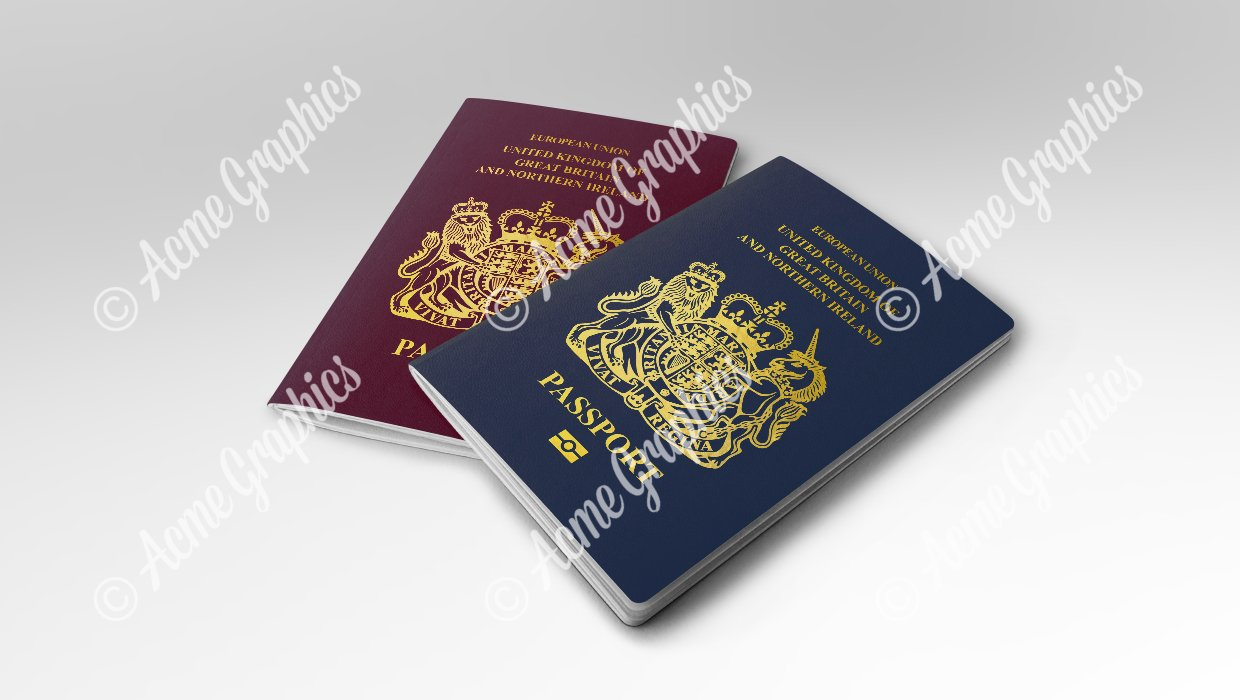 Approved old and new UK prop passports