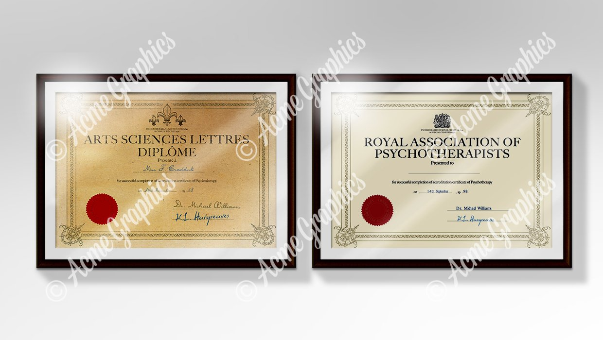 Qualification certificates in frames