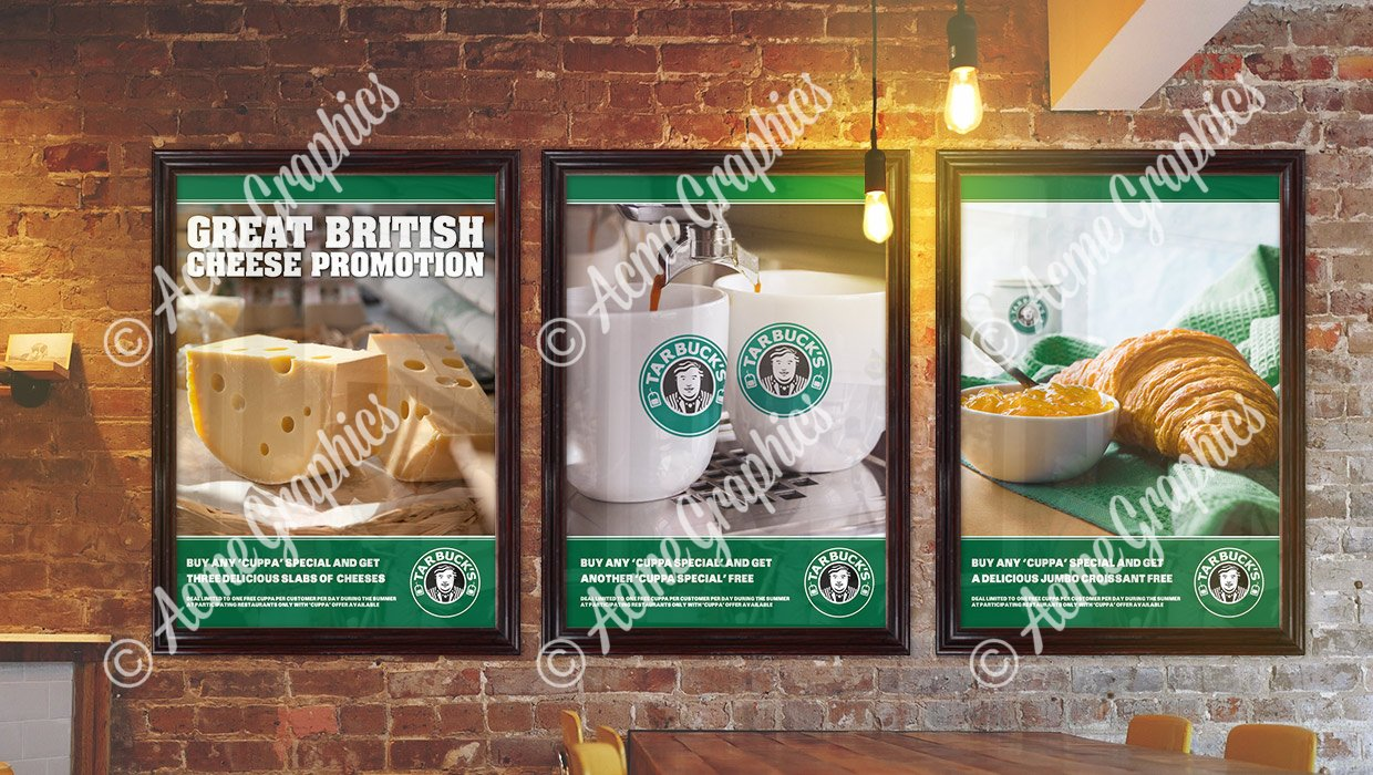 Tarbucks cafe posters