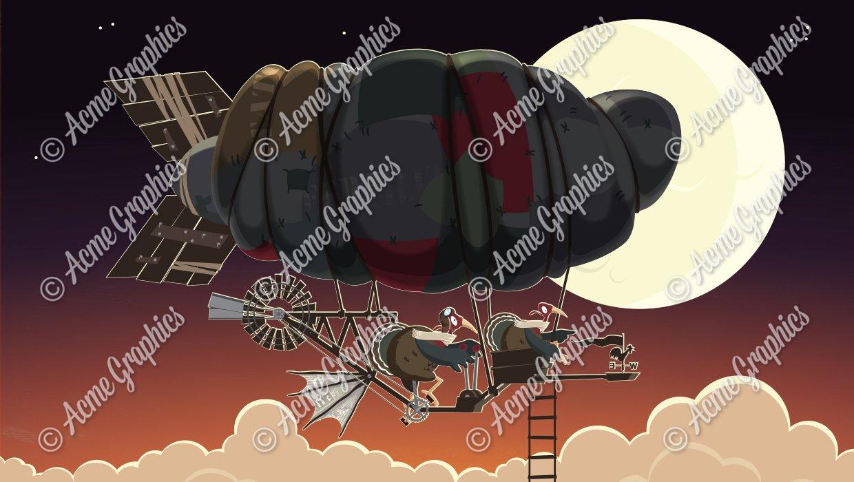Turkey flying machine illustration