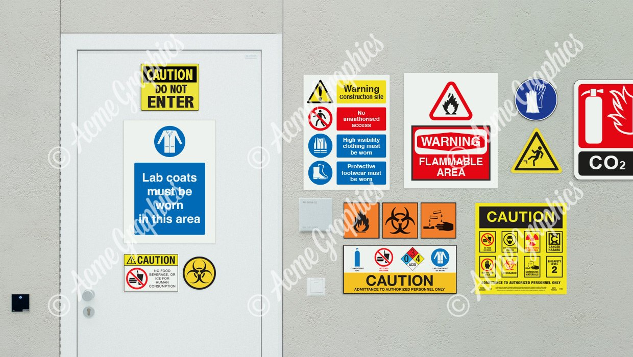 multiple warning signs for sets and locations