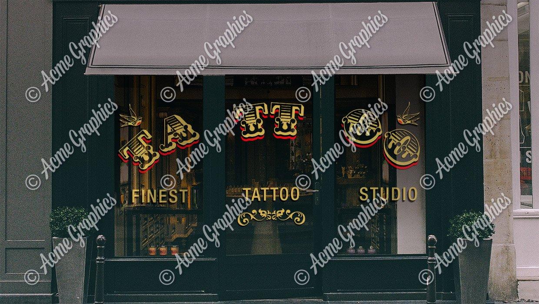 Tattoo shop window vinyl