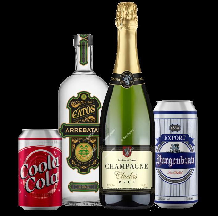 assorted prop drinks