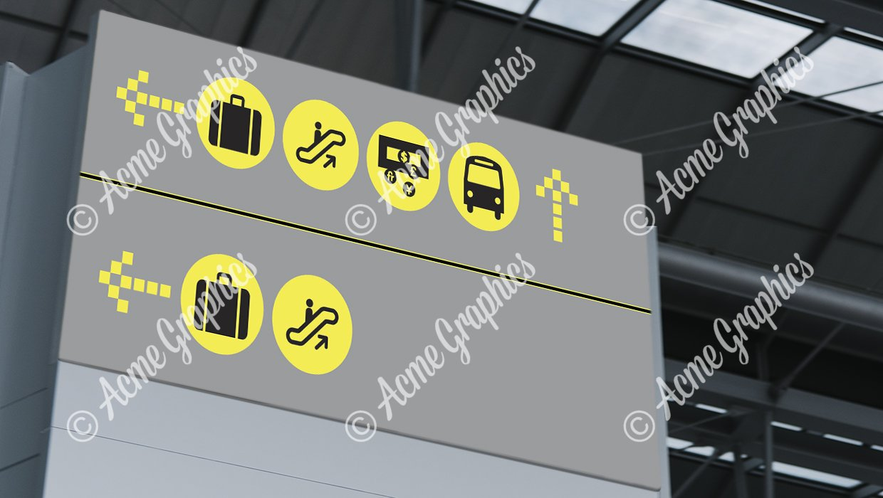 Announcement screen mockup at the airport