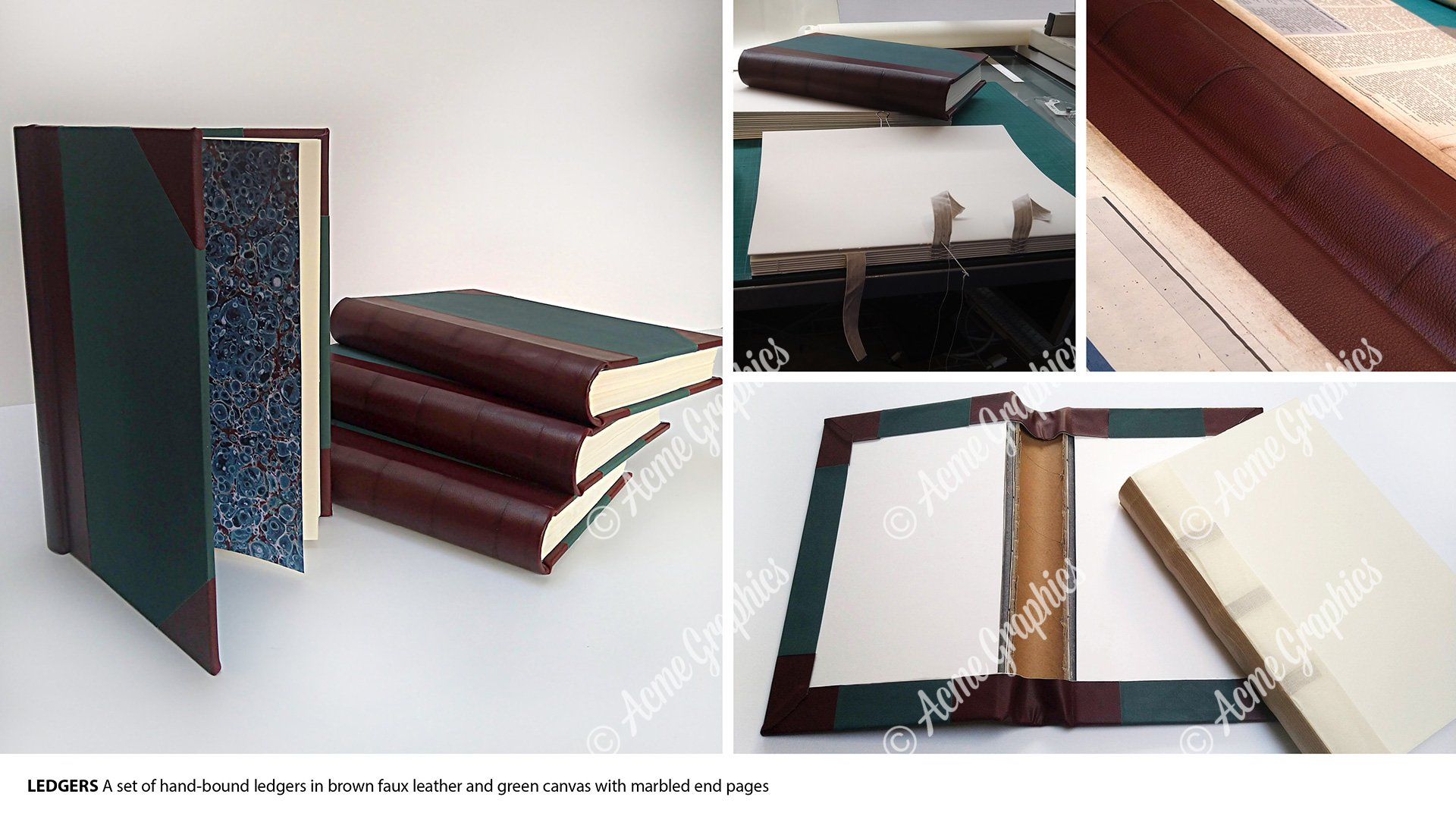 Bound leather 19th century ledgers