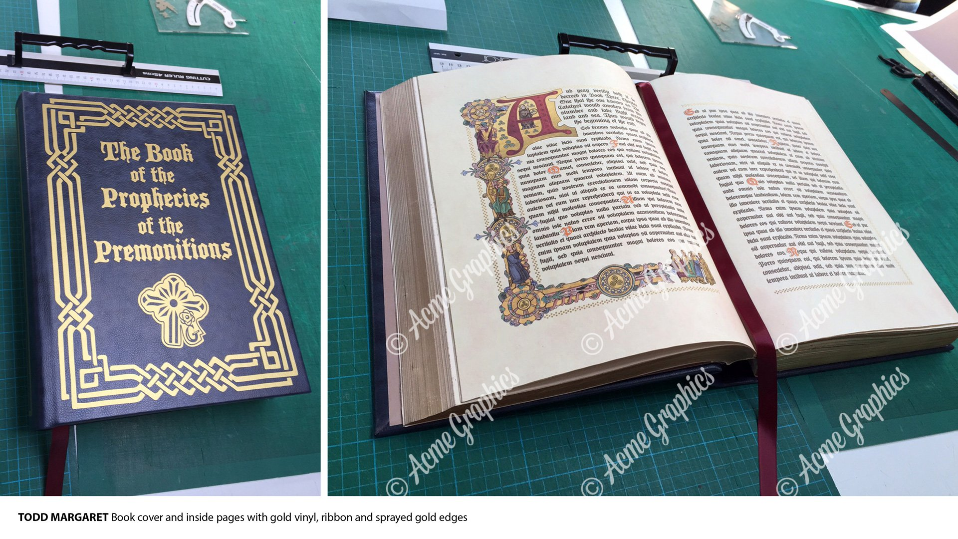Gold and leather bound hero book prop
