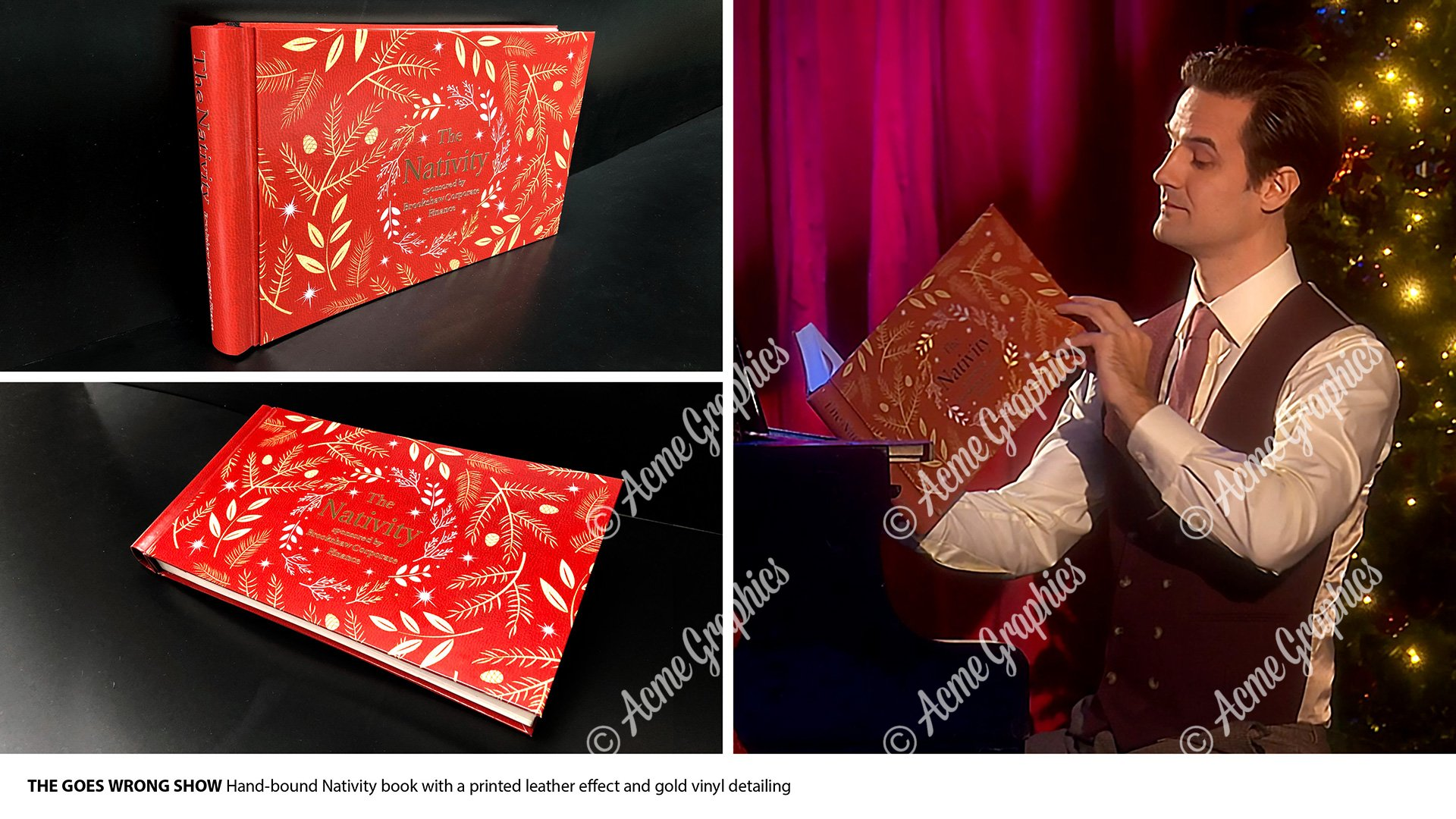 Leather bound nativity book prop