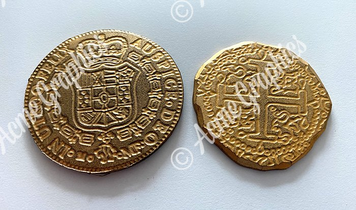 Gold coins made from foamex